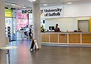 University of Suffolk INFOZONE reception area, Ipswich, Suffolk, England, UK