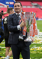 Football - 2017 Sky Bet [EFL] League Two Play-Off Final - Blackpool vs. Exeter City<br /> <br /> Blackpool Manager Gary Bowyer  with the League 2 Play Off trophy at Wembley.<br /> <br /> COLORSPORT/DANIEL BEARHAM