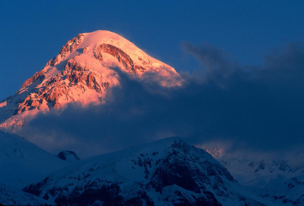 Mount Kazbek, elevation 16,512', morning light, Caucasus Mountains, The Country of Georgia