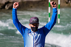 Luka BOZIC (SLO) during medal ceremony at  Canoe Finals at World Cup Tacen, 18 October 2020, Tacen, Ljubljana Slovenia. Photo by Grega Valancic / Sportida