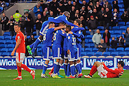 Cardiff City's players celebrate after Rickie Lambert (in huddle) scores his teams 3rd goal to make it 3-1 to Cardiff City.  EFL Skybet championship match, Cardiff city v Huddersfield Town at the Cardiff city stadium in Cardiff, South Wales on Saturday 19th November 2016.<br /> pic by Carl Robertson, Andrew Orchard sports photography.