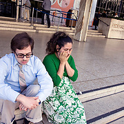 Eric Stauth and his wife, Alma, wait outside the Los Angeles Federal Building where Alma was to appear at a deportation hearing at the Department of Homeland Security. Alma is an undocumented immigrant who was brought here as a toddler. The couple, expecting their first child, waiting nervously outside until hearing from her lawyer for fear she would be immediately deported. Please contact Todd Bigelow directly with your licensing requests.