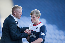 Falkirk's manager Gary Holt with Falkirk's Stephen Kingsley.<br /> Falkirk 3 v 1 Morton, Scottish Championship 17/8/2013.<br /> ©Michael Schofield.