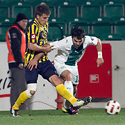 Bursaspor's Volkan SEN (R) during their Turkish soccer super league match Bursaspor between Ankaragucu at Ataturk Stadium in Bursa Turkey on Monday, 21 March 2011. Photo by TURKPIX