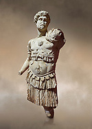 Roman statue of Emperor Hadrian. Marble. Perge. 2nd century AD. Inv no 3053. Antalya Archaeology Museum; Turkey. Against a warm art background. .<br /> <br /> If you prefer to buy from our ALAMY STOCK LIBRARY page at https://www.alamy.com/portfolio/paul-williams-funkystock/greco-roman-sculptures.html . Type -    Antalya     - into LOWER SEARCH WITHIN GALLERY box - Refine search by adding a subject, place, background colour, museum etc.<br /> <br /> Visit our ROMAN WORLD PHOTO COLLECTIONS for more photos to download or buy as wall art prints https://funkystock.photoshelter.com/gallery-collection/The-Romans-Art-Artefacts-Antiquities-Historic-Sites-Pictures-Images/C0000r2uLJJo9_s0