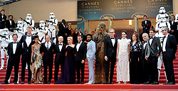 Cast and crew attending the Solo: A Star Wars Story premiere at the 71st Cannes Film Festival