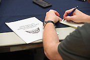 A member of the media writes down notes during the Dallas Wings media day in Arlington, Texas on May 5, 2016.  (Cooper Neill for The New York Times)