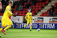 AFC Wimbledon defender Steve Seddon (42) about to cross the ball to AFC Wimbledon striker Joe Pigott (39) during the EFL Sky Bet League 1 match between Charlton Athletic and AFC Wimbledon at The Valley, London, England on 12 December 2020.