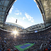 2017 U.S. Open Tennis Tournament - DAY TWELVE. A general view of Arthur Ashe Stadium on Men's Singles Semifinals day at the US Open Tennis Tournament at the USTA Billie Jean King National Tennis Center on September 08, 2017 in Flushing, Queens, New York City.  (Photo by Tim Clayton/Corbis via Getty Images)