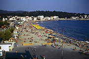 Sandy beach at Les Sablettes, French Riviera, France 1974