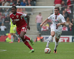 Milton Keynes Dons' Samir Carruthers and Bristol City's Jay Emmanuel-Thomas  - Photo mandatory by-line: Nigel Pitts-Drake/JMP - Tel: Mobile: 07966 386802 24/08/2013 - SPORT - FOOTBALL - Stadium MK - Milton Keynes - Milton Keynes Dons V Bristol City - Sky Bet League One