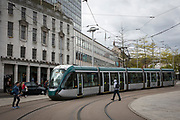 Nottingham Express Transit (NET) tram, number 231, traveling through Nottingham, Nottinghamshire, United Kingdom. Trams run throughout the city to stop people using cars and encourage them to use more sustainable transport mechanisms. (photo by Andrew Aitchison / In pictures via Getty Images)