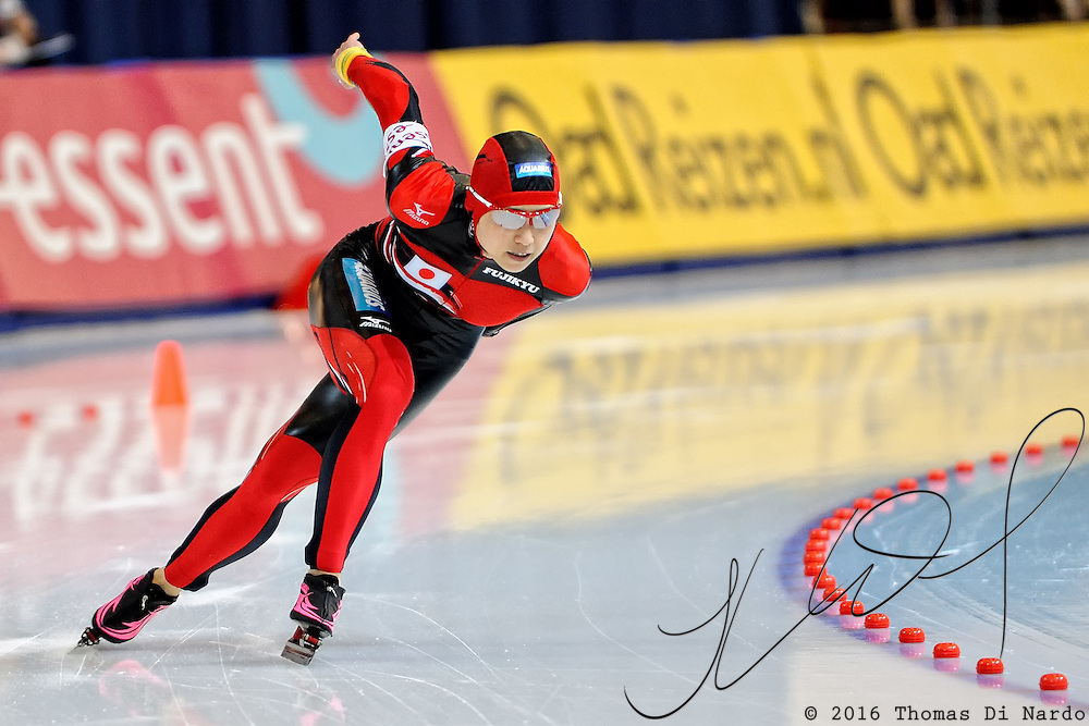 Tomomi Okazaki (JPN) competes in the ladies 500m event at the 2009 Essent ISU World Single Distances Speed Skating Championships. The overall winner in the 500m distance was Jenny Wolf (GER).