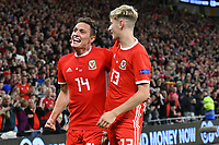 Football - 2018 / 2019 UEFA Nations League B - Group Four: Wales vs. Republic of Ireland<br /> <br /> Connor Roberts of Wales celebrates scoring his team's fourth goal, with David Brooks of Wales at Cardiff City Stadium.<br /> <br /> COLORSPORT/WINSTON BYNORTH