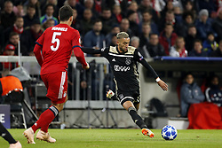 (l-r) Mats Hummels of FC Bayern Munchen, Hakim Ziyech of Ajax during the UEFA Champions League group E match between Bayern Munich and Ajax Amsterdam at the Allianz Arena on October 02, 2018 in Munich, Germany
