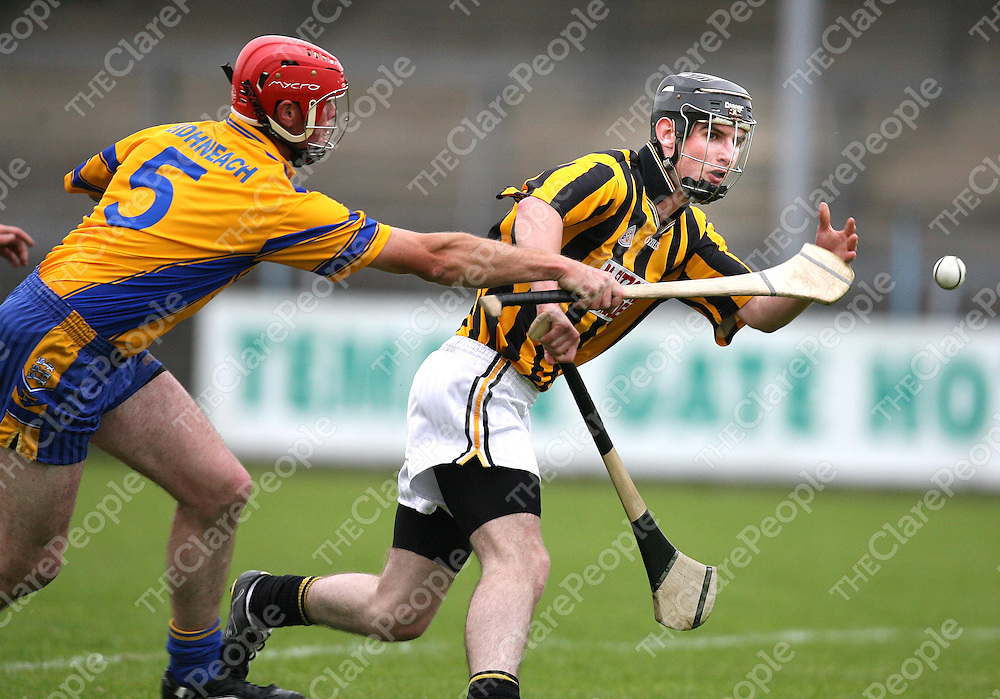 Kevin Sheehan and Colm O'Rourke in action during the Ballyea V Inagh senior Hurling Championship match at Cusack park on Friday evening .<br /><br />Photograph by Eamon Ward