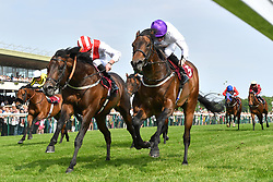 Sands Of Mali ridden by Paul Hanagan (right) beats Invincible Army ridden by James Doyle by a photo finish and wins the Armstrong Aggregates Sandy Lane Stakes (Class 1) at Haydock Park Racecourse.