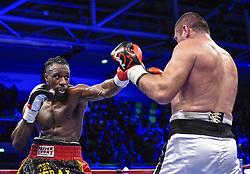 December 8, 2018 - Levallois Perret, France - Combat professionnel des poids lourds legers Joel Tambwe Djeko ( BEL - short noir ) vs Valery Brudov  (Credit Image: © Panoramic via ZUMA Press)