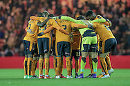 Wolves huddle immediately before the Sky Bet Championship match between Middlesbrough and Wolverhampton Wanderers at the Riverside Stadium, Middlesbrough, England on 4 March 2016. Photo by Mark P Doherty.