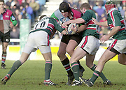 Twickenham, Surrey, UK., 19.01.2002, Quin's Capt. Garrick Morgan, drives through the Tigers defence, during the, Harlequins vs Leicester Tigers, Powergen National Cup Rugby match, played at the, Stoop Memorial Ground, [Mandatory Credit: Peter Spurrier/Intersport Images],