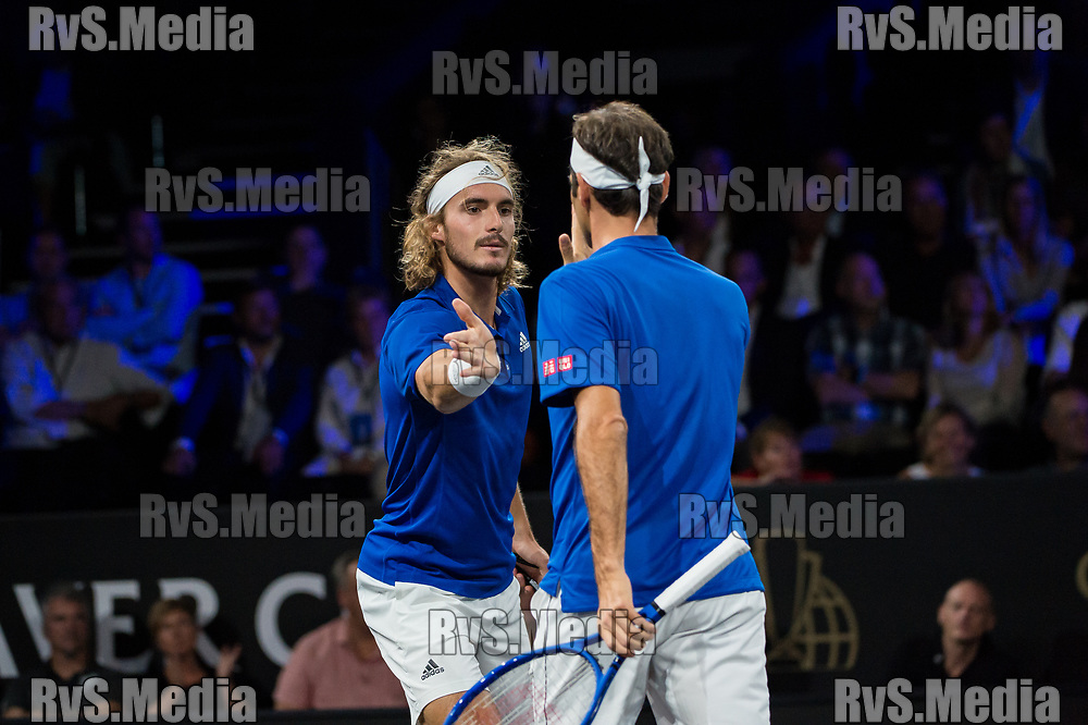 GENEVA, SWITZERLAND - SEPTEMBER 22: Stefanos Tsitsipas and Roger Federer of Team Europe celebrates after the point during Day 3 of the Laver Cup 2019 at Palexpo on September 20, 2019 in Geneva, Switzerland. The Laver Cup will see six players from the rest of the World competing against their counterparts from Europe. Team World is captained by John McEnroe and Team Europe is captained by Bjorn Borg. The tournament runs from September 20-22. (Photo by RvS.Media/Robert Hradil/Getty Images)(Photo by Robert Hradil/RvS.Media)