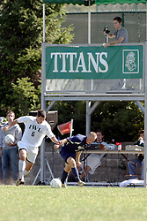 01 October 2006: Titan Steve Perona gets control. The game remained scoreless until the 2nd overtime in which University of Dallas Crusaders Adam Lunger scored the Golden Goal to beat the Illinois Wesleyan Titans.  This game was played at Neis Field on the campus of Illinois Wesleyan University in Bloomington Illinois.