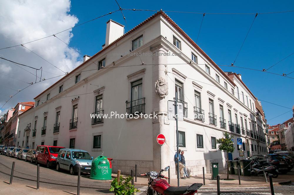 Exterior of a classical building in Rua de Sao Bento, Lisbon, Portugal