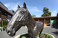 The Frankel statue near to the Sir Henry Cecil Gate Entrance on Day 4 of  the Ebor Festival at York Racecourse, York, United Kingdom on 24 August 2019.