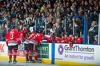 KELOWNA, CANADA - APRIL 8: The Portland Winterhawks' take a time out against the Kelowna Rockets on April 8, 2017 at Prospera Place in Kelowna, British Columbia, Canada.  (Photo by Marissa Baecker/Shoot the Breeze)  *** Local Caption ***