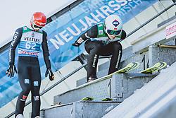 31.12.2020, Olympiaschanze, Garmisch Partenkirchen, GER, FIS Weltcup Skisprung, Vierschanzentournee, Garmisch Partenkirchen, Qualifikation, Herren, im Bild Markus Eisenbichler (GER), Kamil Stoch (POL) // Markus Eisenbichler of Germany Kamil Stoch of Poland during qualification jump of men's Four Hills Tournament of FIS Ski Jumping World Cup at the Olympiaschanze in Garmisch Partenkirchen, Germany on 2020/12/31. EXPA Pictures © 2020, PhotoCredit: EXPA/ JFK