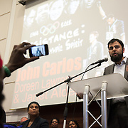Fahad Ansari from 'We are Babar Ahmed Campaign' Resistance: The best Olympic Spirit. With John Carlos, Doreen Lawrence, Janet Alder and others.