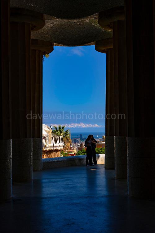 Sala de les Cent Columnes or Sala Hipóstila - Parc Guell, Barcelona, Catalonia, Spain. A public park design by famed Catalan architect Antoni Gaudi featuring gardens and architectural curiousities.