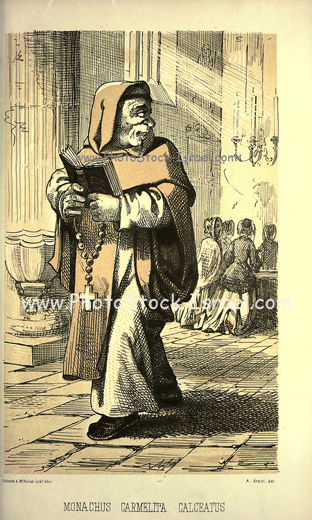 """Carmelite Monk, Shod - Monachus Carmelita, Calceatus, from the book ' Monachologia, or, Handbook of the natural history of monks : arranged according to the Linnean system ' by Born, Ignaz Edler von, 1742-1791; Krasinski, Walerian, 1780-1855 Published in 1852 in Edinburgh by Johnstone & Hunter. This is a  Victorian anti-Catholic/anti-European satire or parody written in pseudo-scientific natural history jargon, complaining of the laziness, odd dress & weird habits (literally!), strange hours & stranger noises of various orders of monks, deposited of British shores by Papist Europeans of little merit and bad intent. Each major order of Monk is depicted & described in most unflattering terms. """"Hence it is evident, that the monk forms a distinct class of mammalia, which holds a middle place, and forms a connecting link between man and monkey."""""""