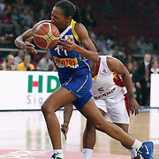 Lotos Gdynia's Geraldine ROBERT (L) during their woman Euroleague group A matchday 5 Galatasaray between Lotos Gdynia at the Abdi Ipekci Arena in Istanbul at Turkey on Wednesday, November 09 2011. Photo by TURKPIX