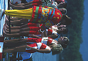 Banyoles, SPAIN, IOC Vice President, Anita DeFrantz, presents the Canadian Women's Eight with their Gold Medals crew; Kirsten BARNES , Shannon CRAWFORD , Megan DELEHANTY , Kathleen HEDDLE , Marnie McBEAN , Jessica Jessie MONROE , Brenda TAYLOR , Kay WORTHINGTON , Lesley THOMPSON - WILLIE (c) awards dock and  competing in the 1992 Olympic Regatta, Lake Banyoles, Barcelona, SPAIN.   [Mandatory Credit: Peter Spurrier: Intersport Images]