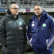 Vfl Wolfsburg's manager Klaus Allofs (R) with Werder Bremen's head coach Thomas Schaaf during their Tuttur.com Cup matchday 2 soccer match Trabzonspor between  Werder Bremen at Mardan stadium in AntalyaTurkey on 07 Monday January, 2013. Photo by Aykut AKICI/TURKPIX