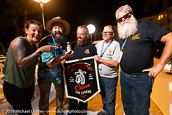 The party's over!  (L>R) Jody Perewitz, Evan Riggle, Jim Gilfoyle, Roger Green and John Bartman after the Cross Country Chase motorcycle endurance run from Sault Sainte Marie, MI to Key West, FL. (for vintage bikes from 1930-1948). The Awards Banquet on the beach at Casa Marina resort was a great way to wrap the 2,368 mile ride of the Cross Country Chase. Sunday, September 15, 2019. Photography ©2019 Michael Lichter.