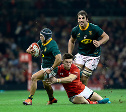 Cheslin Kolbe of South Africa under pressure from Josh Adams of Wales<br /> <br /> Photographer Simon King/Replay Images<br /> <br /> Under Armour Series - Wales v South Africa - Saturday 24th November 2018 - Principality Stadium - Cardiff<br /> <br /> World Copyright © Replay Images . All rights reserved. info@replayimages.co.uk - http://replayimages.co.uk