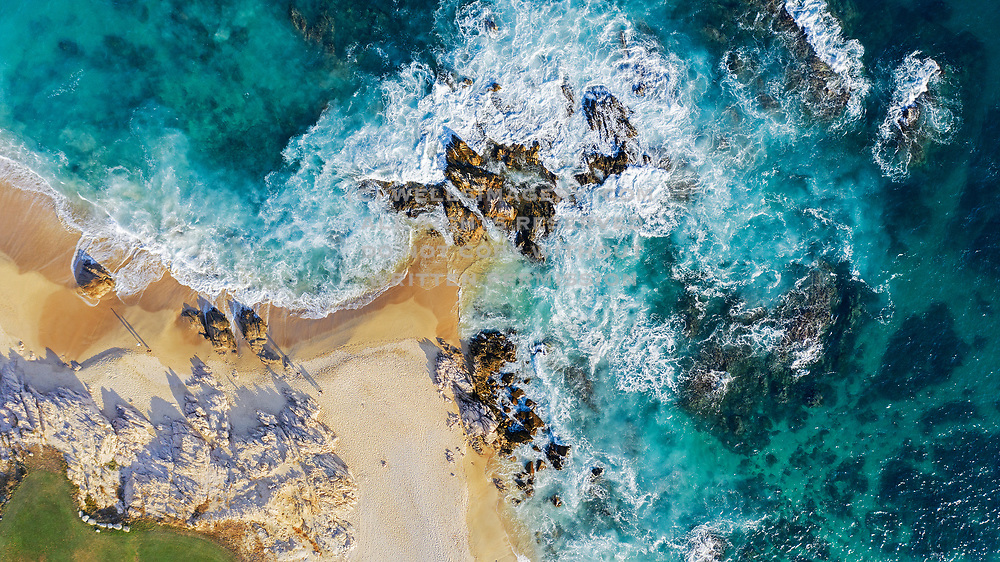 Aerial image of the beach and waves at Cabo San Lucas, Baja California Sur, Mexico by Randy Wells