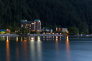 The Harrison Hot Springs Resort in Harrison Hot Springs, British Columbia, Canada.  Photographed on a summer evening from the edge of Harrison Lake.