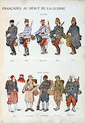 French military uniforms in World War I, 1914-1918. Top: Cavalry. Bottom: African forces.   Coloured print