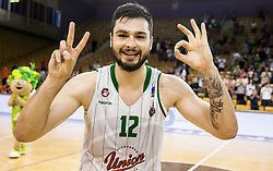 Nikola Jankovic #12 of KK Union Olimpija celebrates after winning during basketball match between KK Union Olimpija and KK Rogaska in 2nd Final game of Liga Nova KBM za prvaka 2016/17, on May 19, 2017 in Hala Tivoli, Ljubljana, Slovenia. Photo by Vid Ponikvar / Sportida