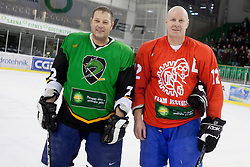 Bojan Zajc of Olimpija and Andrej Razinger of Jesenice during Humanitarian hockey derby of legends between Olimpija and Jesenice, on 7 March 2014, in Hala Tivoli, Ljubljana, Slovenia. Photo by Urban Urbanc / Sportida.com