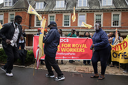 London, UK. 30th July, 2021. Royal Parks workers outsourced via French multinational VINCI Facilities dance on the picket line outside the Old Police House in Hyde Park as part of joint strike action by the United Voices of the World (UVW) and Public and Commercial Services (PCS) trade unions. The joint strike, with members dual carding over pay, conditions and the sacking of a member of staff, is believed to be the first between a TUC and a non-TUC trade union and follows the launch of a legal challenge by the Royal Parks workers against indirect racial discrimination by the Royal Parks.