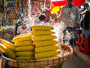 16 JUNE 2013 - YANGON, MYANMAR:  Fresh steamed corn on the cob for sale in a market in Yangon. Yangon, formerly Rangoon, is the largest city in Myanmar. It is the former capital of the Southeast Asian country. It's still Myanmar's economic capital.     PHOTO BY JACK KURTZ