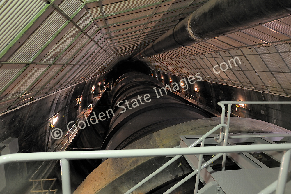 Penstock at Hoover Dam.<br /> Hoover Dam is designed to never have the water level of Lake Mead overtop the dam. There are spillways on each side which route excess storage around the dam.