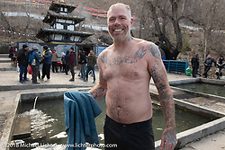 Denver Joe Hicks after running through the 108 holy fountains of freezing water at the Buddhist temple above the town of Muktinath on day-6 of our Himalayan Heroes adventure riding from Muktinath to Tatopani, Nepal. Sunday, November 11, 2018. Photography ©2018 Michael Lichter.