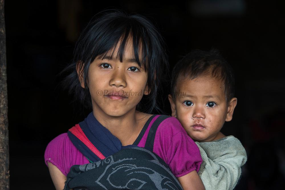Konyak Naga children<br /> Konyak Naga headhunting Tribe<br /> Mon district<br /> Nagaland,  ne India