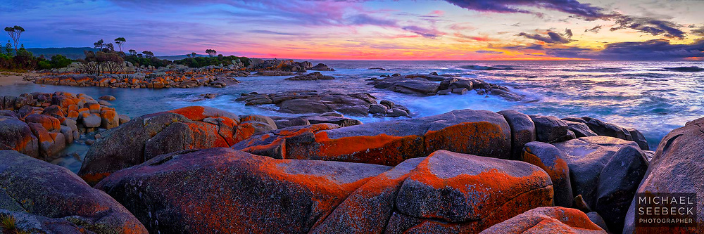 A high resolution panoramic photograph of dawn at Binalong on the coast of Tasmania.<br /> <br /> Code: HADE0007<br /> <br /> Limited EDition of 125 Prints