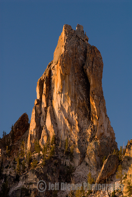 A lone spire stands along the Verita Ridge in the Sawtooth Mountains, Idaho.